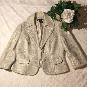 EUC Willi Smith Wool Gold Foil/Cream Crop Jacket,8